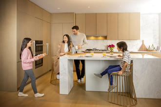 new kitchen lifestyle image with the family