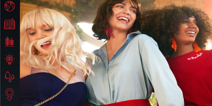 H&M campaign photo with three women