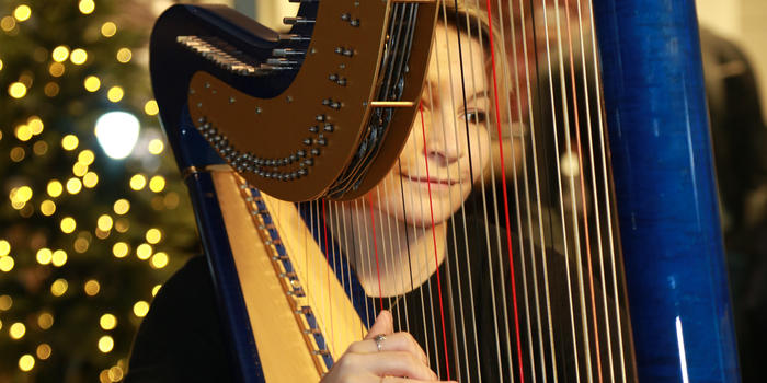 Emily Hopkins playing the harp